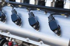 Свечи зажигания двигателя гоночной машины Стоковое Изображение