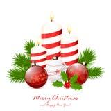Свечи и красные шарики рождества Стоковое Изображение
