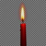 Свечи реалистического 3d установили на прозрачную иллюстрацию вектора предпосылки Стоковые Фото