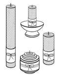 Свечи сделанные из воска, handmade Свечи различных размеров с текстурой сотов Комплект декоративных свечей Линейное patt иллюстрация вектора