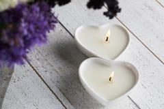 2 свечи формы сердца Стоковое Изображение