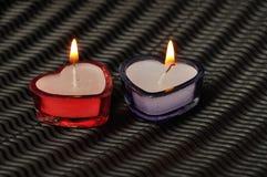 2 свечи формы сердца Стоковые Фотографии RF