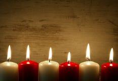 Свечи Lit, рамка, предпосылка Стоковое Фото