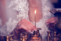 Свечка в церков Стоковое Фото