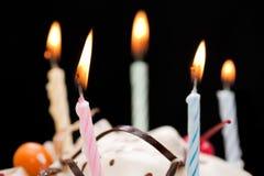 свечка именниного пирога Стоковая Фотография