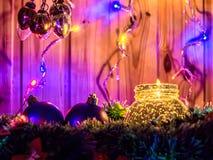 Свечка и украшения рождества Стоковые Изображения RF