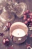 Свечка рождества горящая Стоковое Изображение RF