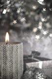 Свечка рождества с украшением Стоковое Изображение
