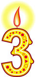 свечка 3 дней рождения Стоковые Изображения