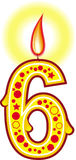 свечка 6 дней рождения Стоковое Изображение RF