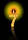 свечка 7 дней рождения черная Стоковые Фотографии RF