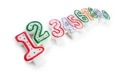 Свечки дня рождения изолированные на белизне Стоковые Изображения RF