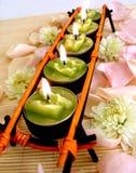 свечки зеленого рядка Стоковые Изображения
