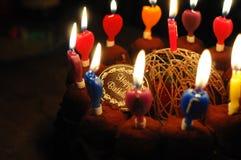 свечки именниного пирога стоковое изображение