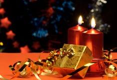Свечки рождества и коробки подарка Стоковая Фотография