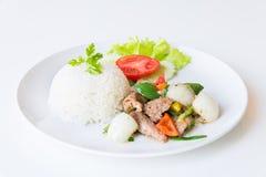 Свинина с зажаренными черным перцем и рисом стоковое изображение rf
