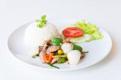 Свинина с зажаренными черным перцем и рисом стоковые фото