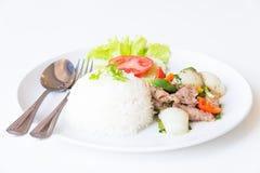Свинина с зажаренными черным перцем и рисом стоковые изображения