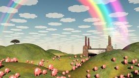 Свиньи двигают как лемминги иллюстрация вектора