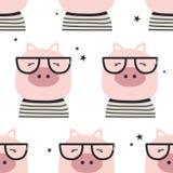 Свиньи со стеклами, безшовной картиной бесплатная иллюстрация