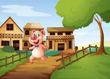 Свинья бежать счастливо бесплатная иллюстрация