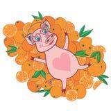 Свинья вектора счастливая в яркой иллюстрации апельсинов стоковые изображения rf