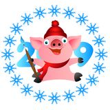Свинья веселого рождества с щеткой Свинья веселого рождества с щеткой иллюстрация штока