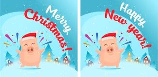 Свинья в сцене снега Открытка бесплатная иллюстрация