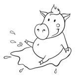 Свинья в лужице Стоковые Изображения RF