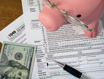 Свинья и деньги на налоговой форме подоходного налога Стоковая Фотография RF