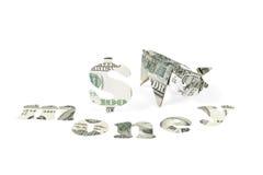 Свинья и деньги Origami Стоковые Изображения RF