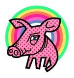 Свинья и радуга Стоковое фото RF