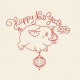 Свинья и рукописные слова С Новым Годом! вектор стоковые изображения