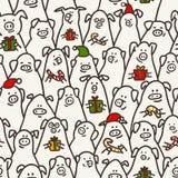 свинья картины безшовная Смешные свиньи с тросточками конфеты, подарками и шляпами santa 2019 китайских символов Нового Года Dood иллюстрация штока