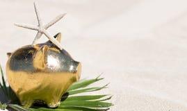 Свинья копилки золота на песчаном пляже лето seashells песка рамки принципиальной схемы предпосылки Путешествия Стоковое фото RF