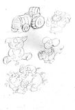 Свинья, мама mailina с малой мышью с сыром и трактор петуха Стоковое Фото