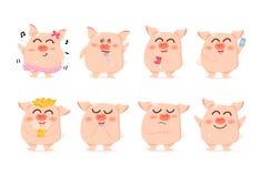 Свинья младенца, характеры, милое собрание мультфильма, китайский Новый Год, год свиньи, вектор, изолированный на белой предпосыл иллюстрация штока