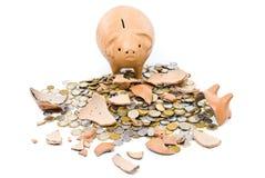 свинья монетки банка унылая Стоковое Фото