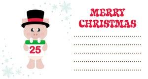 Свинья мультфильма милая с календарем рождества в шляпе на рождественской открытке бесплатная иллюстрация