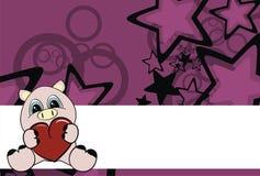 свинья сердца шаржа предпосылки Стоковые Изображения