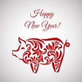 Свинья, символ 2019 на китайском календаре счастливое Новый Год Свинья сделанная из флористического орнамента бесплатная иллюстрация