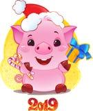 Свинья с подарочной коробкой на Новый Год 2019 Милый символ китайца иллюстрация вектора
