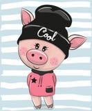 Свинья шаржа в черной шляпе иллюстрация вектора