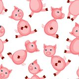 Свинья шаржа милая розовая изолированная на белой предпосылке, безшовной картине, красочном фермере иллюстрации вектора отечестве Стоковое Фото