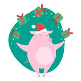 Свинья шаржа счастливая с подарками рождества бесплатная иллюстрация