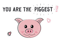 Свинья эскиза милая Иллюстрация на день валентинок Святого Стоковое Изображение