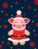 Свинья illustrtion вектора маленькая, piggy характер стоковая фотография