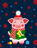 Свинья illustrtion вектора маленькая, piggy характер стоковое изображение