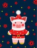 Свинья illustrtion вектора маленькая, piggy характер стоковая фотография rf