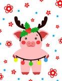 Свинья illustrtion вектора маленькая, piggy характер стоковые изображения rf